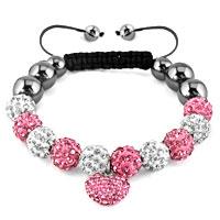 KSEB SHEB Items - shamballa bracelet rose pink heart charm silver crystal disco balls lace adjustable Image.