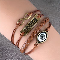 Bracelets - evil eye sideways infinity bracelets love coffee brown braided leather rope bangle bracelet Image.