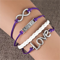 Bracelets - love sideways infinity bracelets purple braided leather rope bangle bracelet Image.