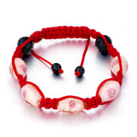 Bracelets - shamballa bracelet pink pattern murano glass on red cotton rope beads crystal Image.