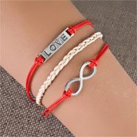 Bracelets - love sideways infinity bracelets red braided leather rope bangle bracelet Image.