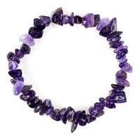 Bracelets - lady natural gemstone crystal purple chip stone beaded stretch charm bracelet Image.
