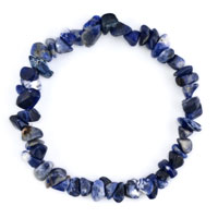 Bracelets - lady natural gemstone crystal sapphire blue chip stone beaded stretch charm bracelet Image.
