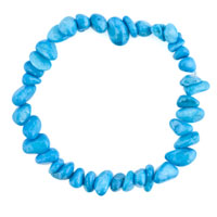 Bracelets - lady natural gemstone crystal sky blue chip stone beaded stretch charm bracelet Image.