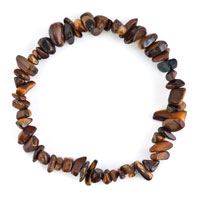 Bracelets - lady natural gemstone crystal coffee brown chip stone beaded stretch charm bracelet Image.