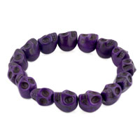 Man's Jewelry - purple howlite elastic gothic skull bracelet beads buddhist prayer Image.