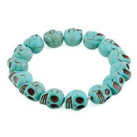 Man's Jewelry - howlite turquoise elastic gothic skull bracelet beads buddhist prayer Image.