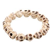Bracelets - howlite white turquoise elastic gothic skull bracelet beads buddhist prayer Image.