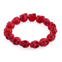Man's Jewelry - howlite red turquoise elastic gothic skull bracelet beads buddhist prayer Image.