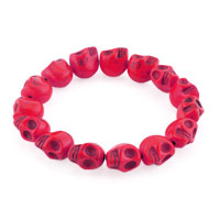 Man's Jewelry - howlite pink turquoise elastic gothic skull bracelet beads buddhist prayer Image.