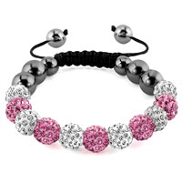 KSEB SHEB Items - shamballa bracelet pink charm silver crystal disco balls lace adjustable Image.
