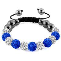 Bracelets - shamballa bracelet sapphire blue charm disco balls lace adjustable Image.