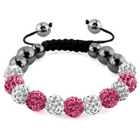 KSEB SHEB Items - shamballa bracelet light pink charm crystal disco balls adjustable Image.