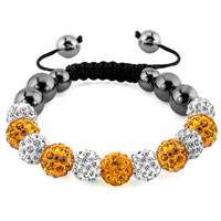 KSEB SHEB Items - shamballa bracelet topaz yellow charm silver crystal disco balls lace adjustable Image.