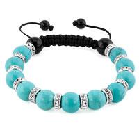 KSEB SHEB Items - shamballa bracelet turquoise charm silver crystal disco balls lace adjustable Image.