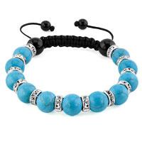 KSEB SHEB Items - shamballa bracelet blue turquoise charm silver crystal disco balls lace adjustable Image.