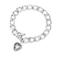 Charms Beads - open linked curb chain dangle heart fit all brands beads charms bracelets Image.
