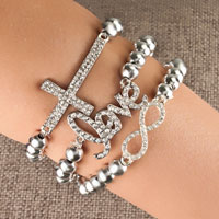 Bracelets - iced out cross infinity &  love beaded stretch bracelet Image.