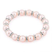 Bracelets - pink freshwater cultured pearl bead clear crystal stretch bracelet Image.