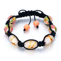 New Year Deals - shamballa bracelet round oval pink pattern murano glass beads crystal Image.