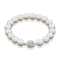 Bracelets - white freshwater cultured pearl bead stretch bracelet Image.