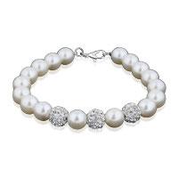 Bracelets - clear white crystal freshwater cultured pearl bracelet Image.