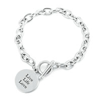 Bracelets - tag charm cable chunky chain toggle clasp bracelet Image.