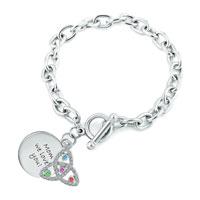 Bracelets - trinity knot charm cable chunky chain toggle clasp bracelet Image.