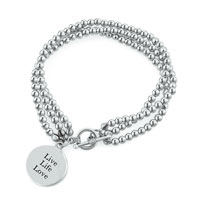 Bracelets - disc live life love charm chain link toggle bangle bracelet Image.
