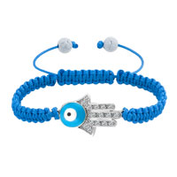 Bracelets - new jewelry blue lace silver iced out sideways hamsa hand macrame bracelet Image.