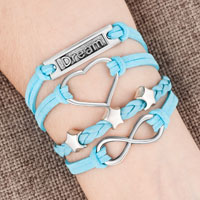 New Arrivals - silver p dream heart stars blue turquoise leather infinity bracelet Image.