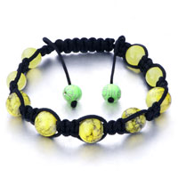 Bracelets - shamballa bracelet yellow pattern murano glass on black cotton Image.