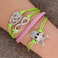 Bracelets - jewelry vintage iced out silver infinity bracelet skull green pink leather rope Image.