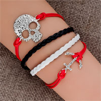 Bracelets - jewelry vintage iced out silver anchor bracelet skull white black leather rope Image.