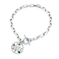 Bracelets - heart charm tree of life crystal beaded link toggle bangle bracelet Image.