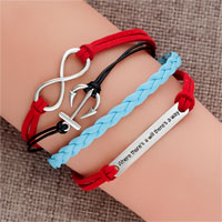 Bracelets - vintage iced out silver infinite bracelet anchor red blue leather rope will tag Image.