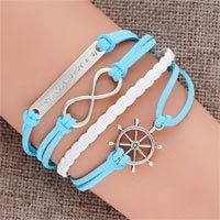 Bracelets - jewelry vintage iced out silver infinite bracelet anchor white blue leather rope Image.