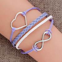 Bracelets - new jewelry vintage iced out silver infinity bracelet heart purple leather rope Image.