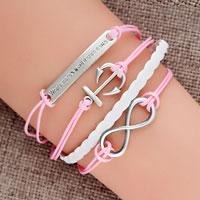 Bracelets - new vintage silver infinity bracelet anchor wisdom pink leather rope Image.