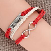 Bracelets - jeewlry vintage iced out silver infinity bracelet dream red white leather rope Image.