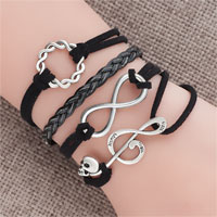 Bracelets - jewelry vintage iced out silver infinity bracelet music note black leather rope Image.