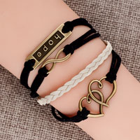 Bracelets - new vintage iced out silver infinity bracelet open heart hope black leather rope Image.