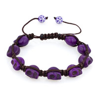 Man's Jewelry - shamballa color crystal disco ball halloween skull beaded bracelet Image.