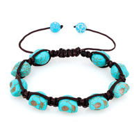 Man's Jewelry - shamballa color aquamarine ball halloween skull beaded bracelet Image.