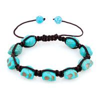Man's Jewelry - shamballa color aquamarine ball halloween skull beaded bracelet Image.