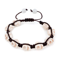 Man's Jewelry - shamballa color crystal disco ball halloween skull beaded bracelet Image.