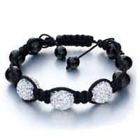 Man's Jewelry - shamballa bracelet triple white ball rhinestone Image.