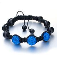 Bracelets - shamballa bracelet triple sapphire ball rhinestone Image.