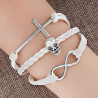 Man's Jewelry - vintage iced out silver infinity cross skull white leather bracelet Image.