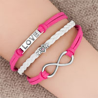 Bracelets - silver/ p infinity heart love mom charm white pink leather bracelet Image.
